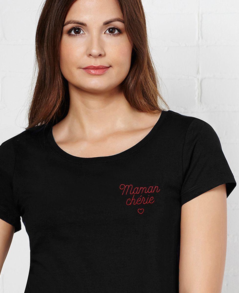 T-Shirt femme Maman chérie brodé