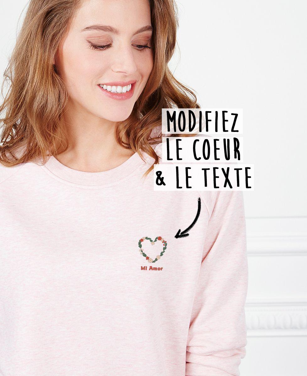 Sweatshirt femme Coeur fleuri brodé personnalisé