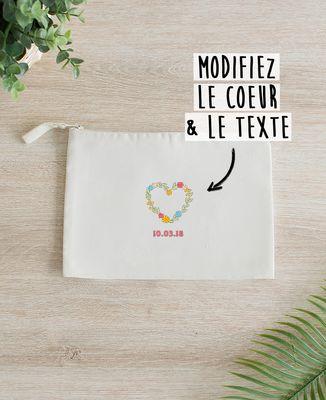 Pochette Coeur fleuri brodé personnalisé