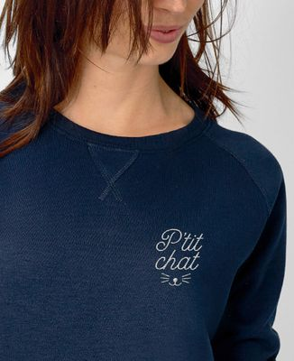 Sweatshirt femme P'tit chat brodé
