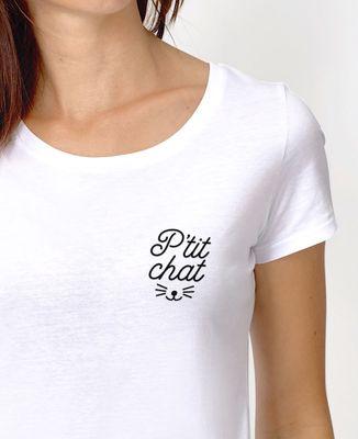 T-Shirt femme P'tit chat brodé